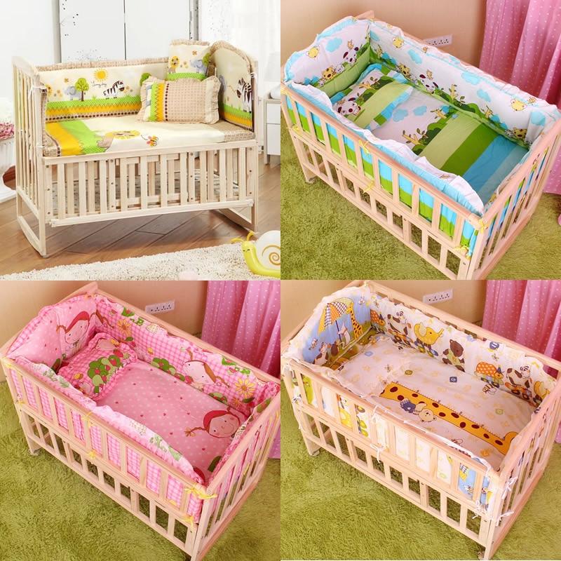 5Pcs baby crib bedding set kids bedding set 100x60cm newborn baby bed set crib bumper baby cot set baby bed bumper CP01(China)