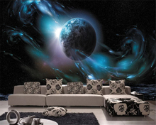 beibehang Custom silky classic wall paper HD fantasy planet 3D stereo theme space KTV background papel de parede 3d wallpaper цена 2017
