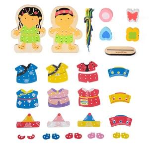 Image 4 - Zalami öğrenme eğitim ahşap bulmaca Oyuncak bebekler boncuk Montessori Oyuncak çocuklar için