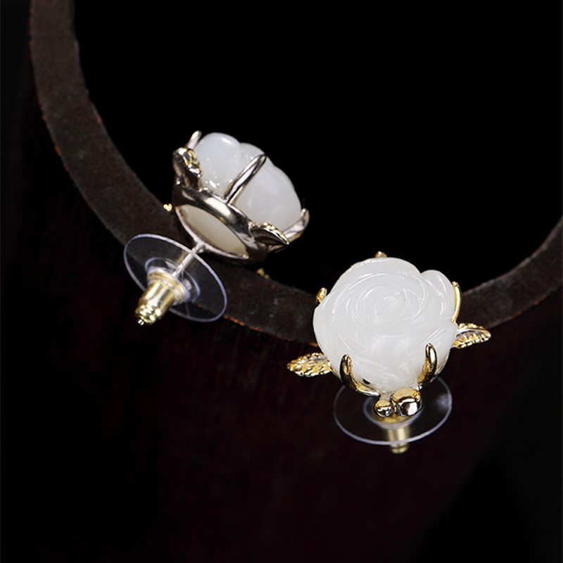 Clous de fleur de Jade blanc sculptés à la main Uglyless pour femmes 100% véritable solide 925 boucles d'oreilles en argent plaque d'or bijoux fins gemmes - 4