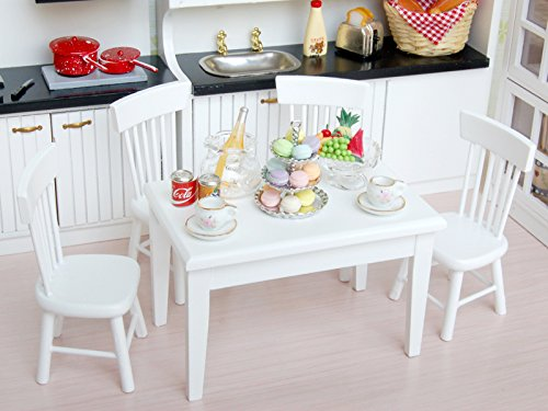 5pcs 1:12 Scale Dollhouse Dining Room Furniture Set White Wooden Dining Table Chairs Miniature Doll House Accessories Decoration