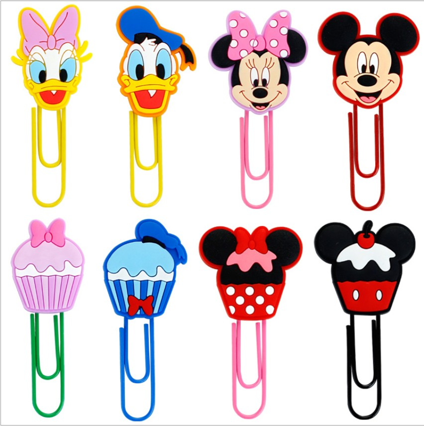 1pcs Cartoon PVC Mickey Minnie Bookmark Paper Clips Student Stationery Memo Clip Kids Toy Gift