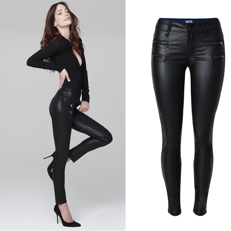 Olrain New Sexy Womens Casual Low Waist Stretchy Wet Look PU Jeans Faux Leather Black Pencil Pants