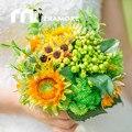 2017 de La Boda del Girasol Broquets Para Novia dama de Honor Que Sostiene Brouquets Artificial Flor Occidental Al Aire Libre Accesorio Bruidsboeket