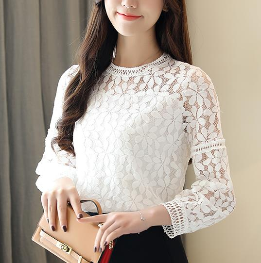 new fashion womens tops and   blouses   long tops women lace tops women   shirts   2019 long sleeve sexy hollow lace   blouse     shirt