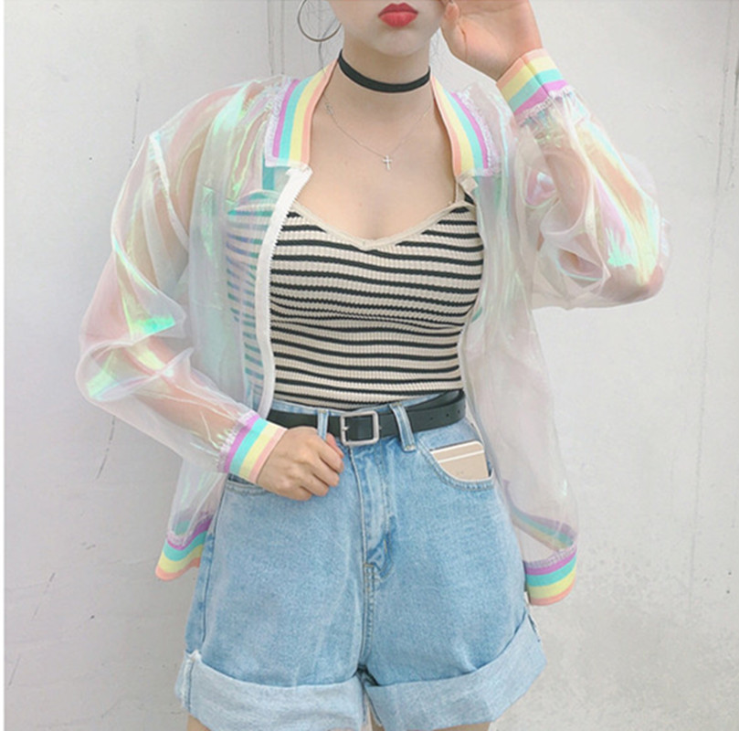 HOT Womens Iridescent Clear Transparent Jacket Holographic Coat Rainbow Colors Bomber Free Size