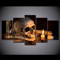 5 Pcs Scary Skull Burning Candle Canvas HD Printed Poster Frame Painting Wall Art Pictures Framework Cuadros Decoracion Salon