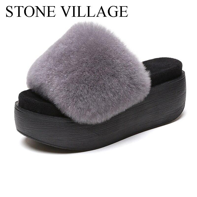 2017 High-Heeled Rabbit Fur Slippers Women Fashion Autumn Winter Fur Slides Platform Women Shoes  Women Slippers Size 35-39