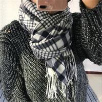 pure wool women England style plaid thick scarfs shawl pashmina 70x200cm grey blue 4color