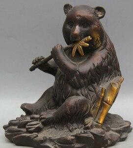 JP S0522 6Chinese Fengshui Folk Bronze seat panda bear cat bamboo Statue sculpture|sculpture bird|sculpture kit|sculpture pattern -