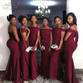 Burgundy Mermaid Bridesmaid Dress 2017 Graceful Sweetheart Strap Floor Lenght Long Bridesmaid Dresses Cheap Wedding Party Gown