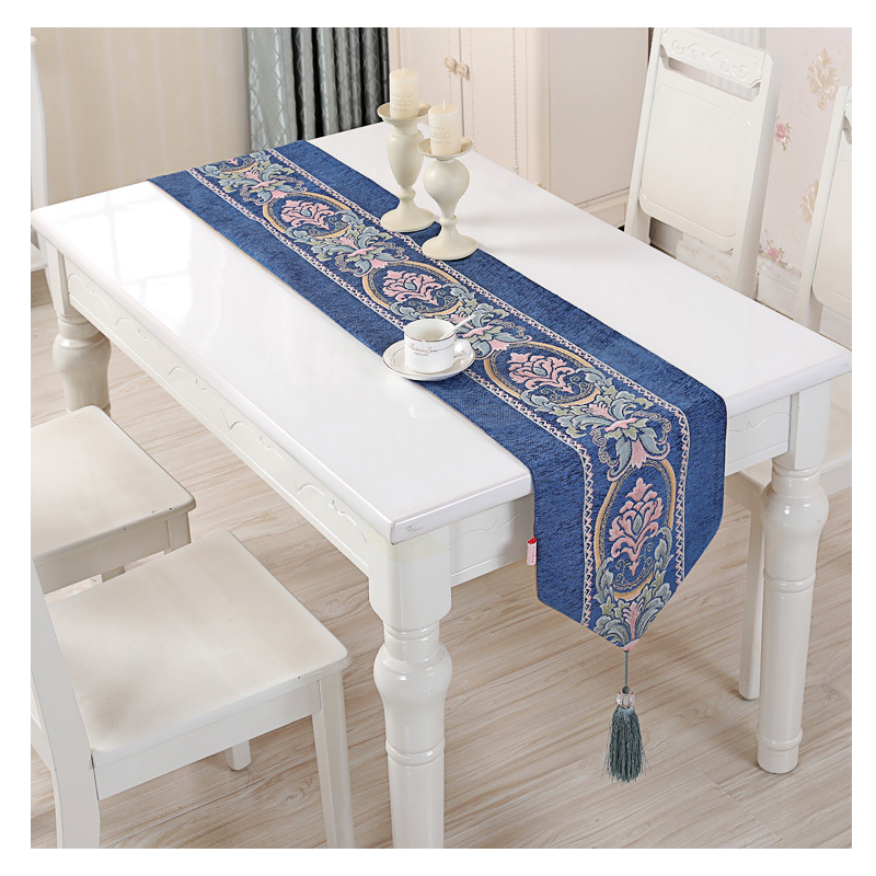 Europe luxury table runners for wedding blue floral embroidered dinning table runner side table bed decoration runners 35x210cm