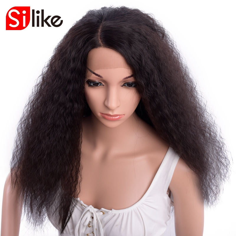 Silike Synthetic 24 Inch L Part Front Lace Wigs Kinky Curly Type Heat Resistant Hair Wigs