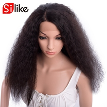 Silike Synthetic 24 Inch L Part Front Lace Wigs Kinky Curly