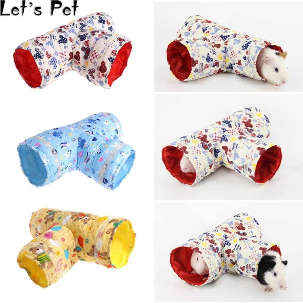 Vamos Hamster de Estimação Túnel Brinquedo Pequeno Animal de Estimação Dos Desenhos Animados 3 Forma Tubos de Pet Bed Ninho Para Coelhos Furões Cobaias