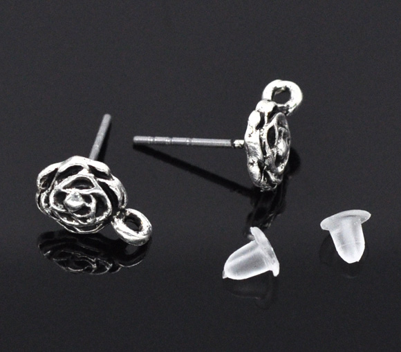 40PCs Silver Tone Rose Earring Post Findings w/ Stoppers 13x10mm