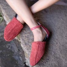 Artmu Original Retro Handmade Knitted Genuine Leather Sandals New Buckle Flat Women Shoes 1881-3A