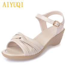 AIYUQI women sandals 2019 summer new wedge women, flat non-slip wild soft bottom womens sandals, big size 41 42 43