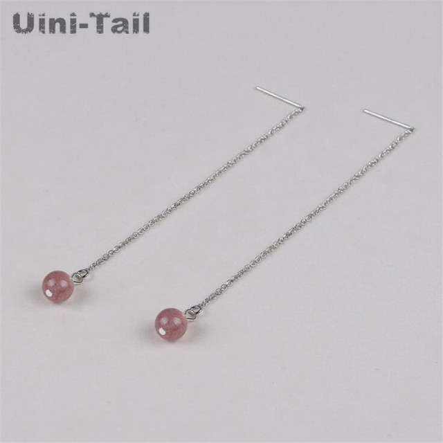 5b24a8ab4 Uini-Tail hot new 925 sterling silver girl heart natural strawberry crystal  earrings Korea sweet