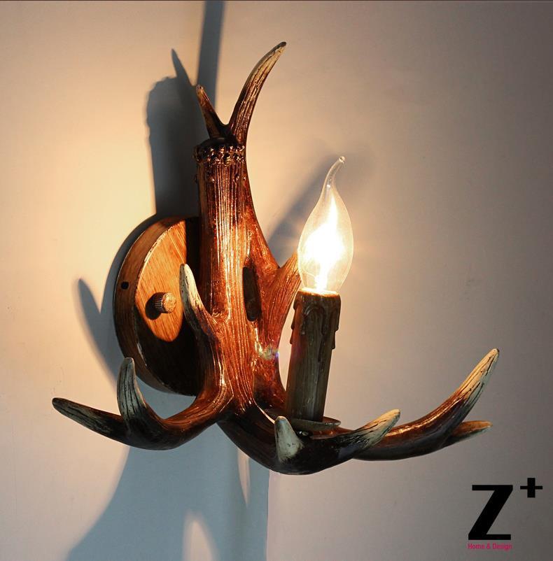 Candelabro de cuerno de ciervo de resina de estilo americano lámpara de pared retro vintage de estilo rural envío gratis