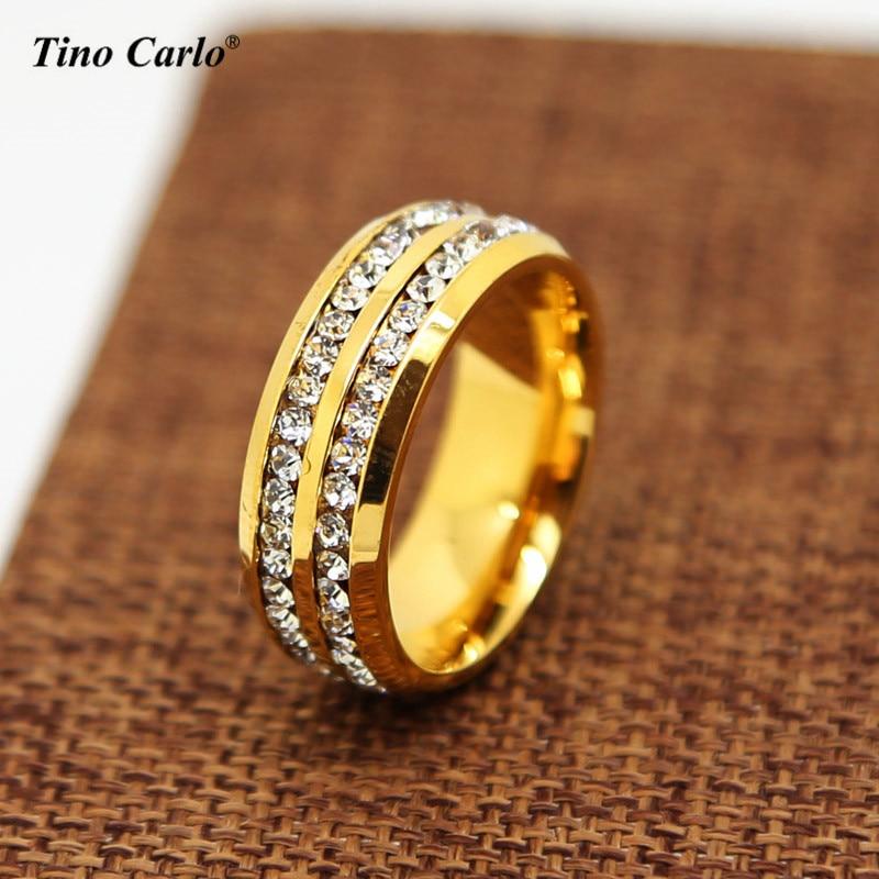 316L Нержавеющаясталь золотой 8 мм кольцо Для мужчин Для женщин 2 Ряд AAA CZ инкрустация обещание Юбилей вечность Свадебные Обручение кольцо 6-13