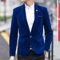 Gran calidad chaqueta de pana hombres de moda clásica Slim Fit solo botón hombre Blazers 2016 nuevo diseñador traje marca chaquetas