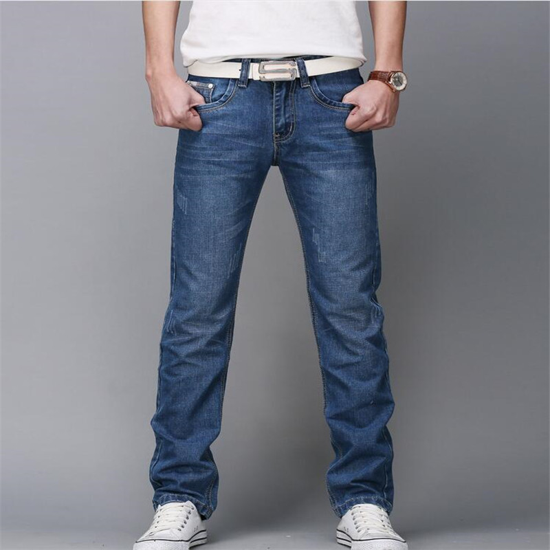 2016 regular fit jeans brand jeans male fashion thin 100 high quality cotton denim blue men