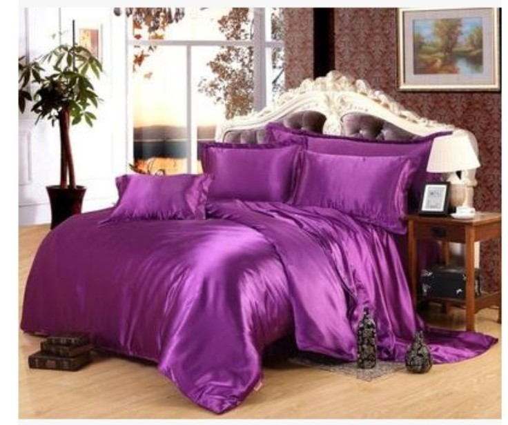 Beautiful Luxury Deep Purple Silk Bedding set Satin sheets Super King size  FV96