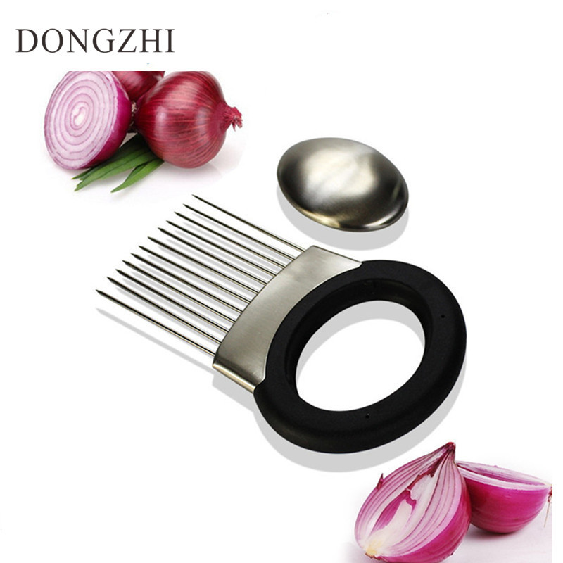 High Quality Stainless Steel Onion Holder Cutter Vegetable Slicer Gadget Potato Slicing Aid Guide Holder Slicing Gadget FT018