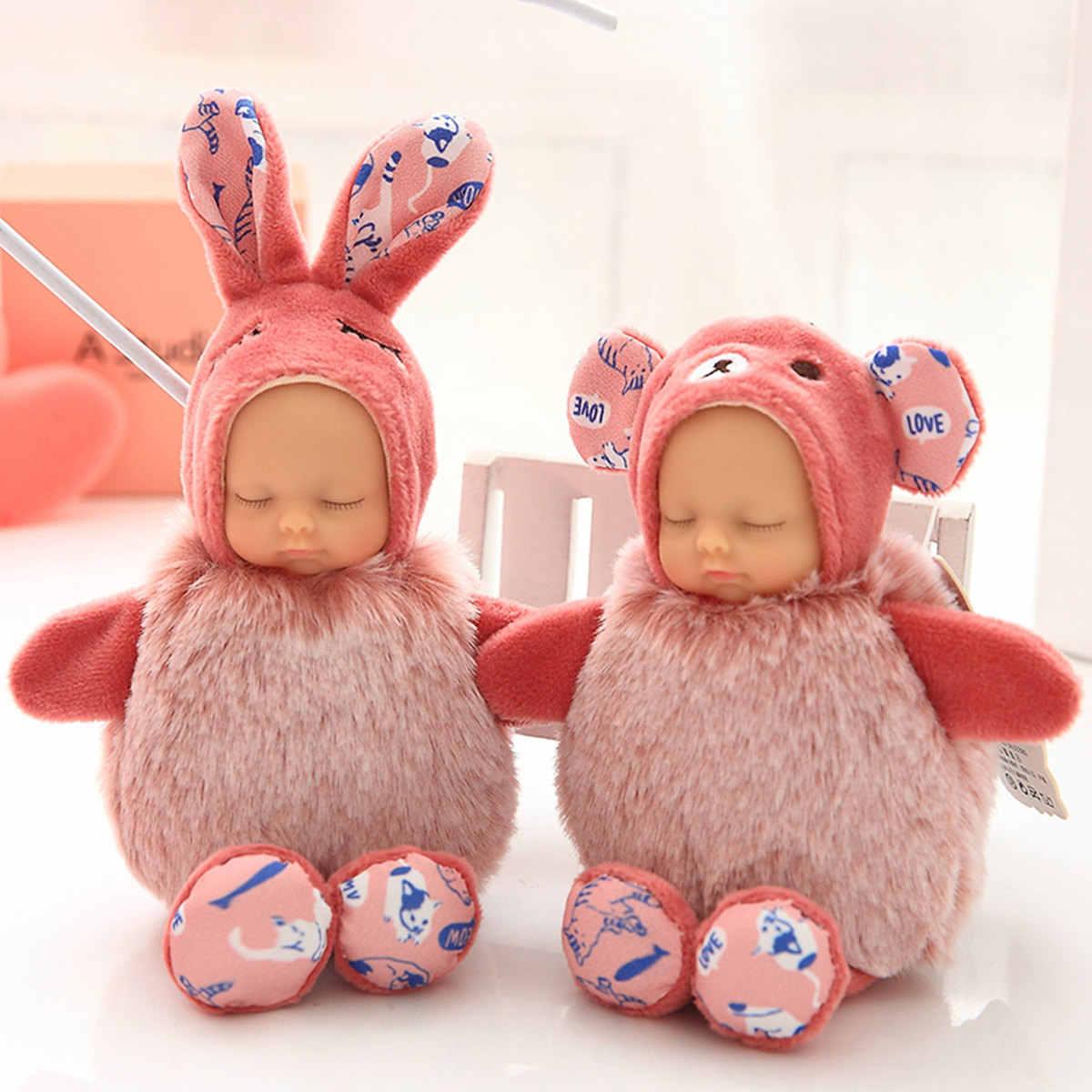 15 см Плюшевые брелоки игрушка кролик мех Спящая Детская кукла брелок мягкая плюшевая сумка модная цепочка для ключей гаджет аксессуары Игрушка