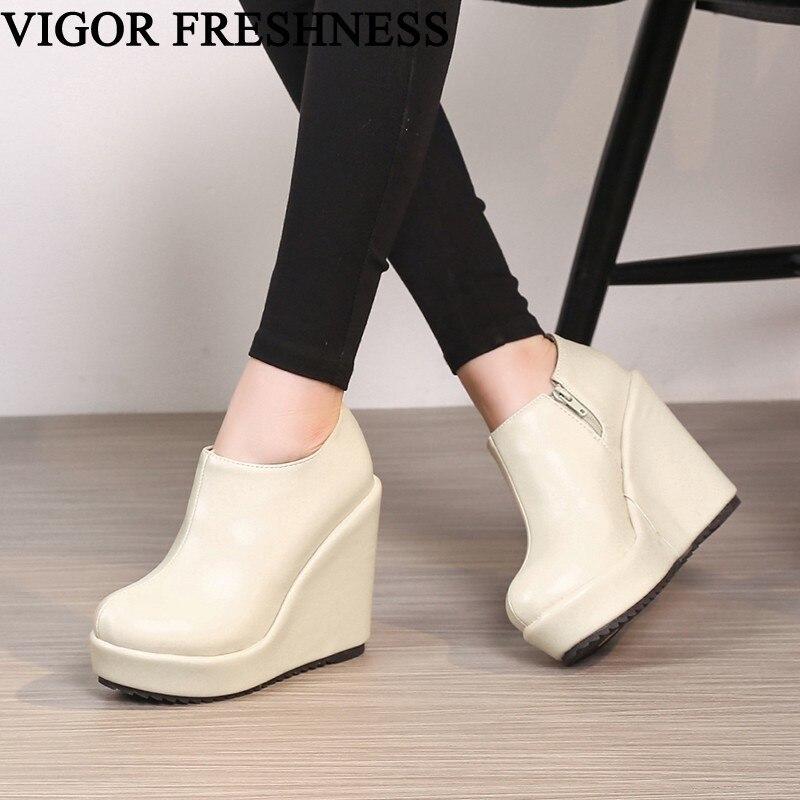 Autumn Shoes Wedge-Heels Platform Pumps Increasing-Shoes Women Height Winter Spring Vigor Freshness