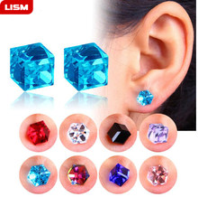 1 Pair Unisex Non Piercing Clip on Magnetic Magnet Crystal Square Cubic Zircon CZ Ear Stud Earrings(China)