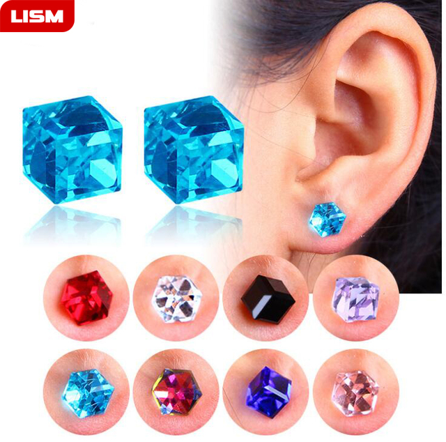 1 Pair Unisex Non Piercing Clip on Magnetic Magnet Crystal Square Cubic Zircon CZ Ear Stud.jpg 640x640 - 1 Pair Unisex Non Piercing Clip on Magnetic Magnet Crystal Square Cubic Zircon CZ Ear Stud Earrings