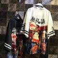 Novidade japonesa do quimono das mulheres dos desenhos animados personagem impressão longo kimono tops feminino preto branco blusas camisas cardigan outerwear