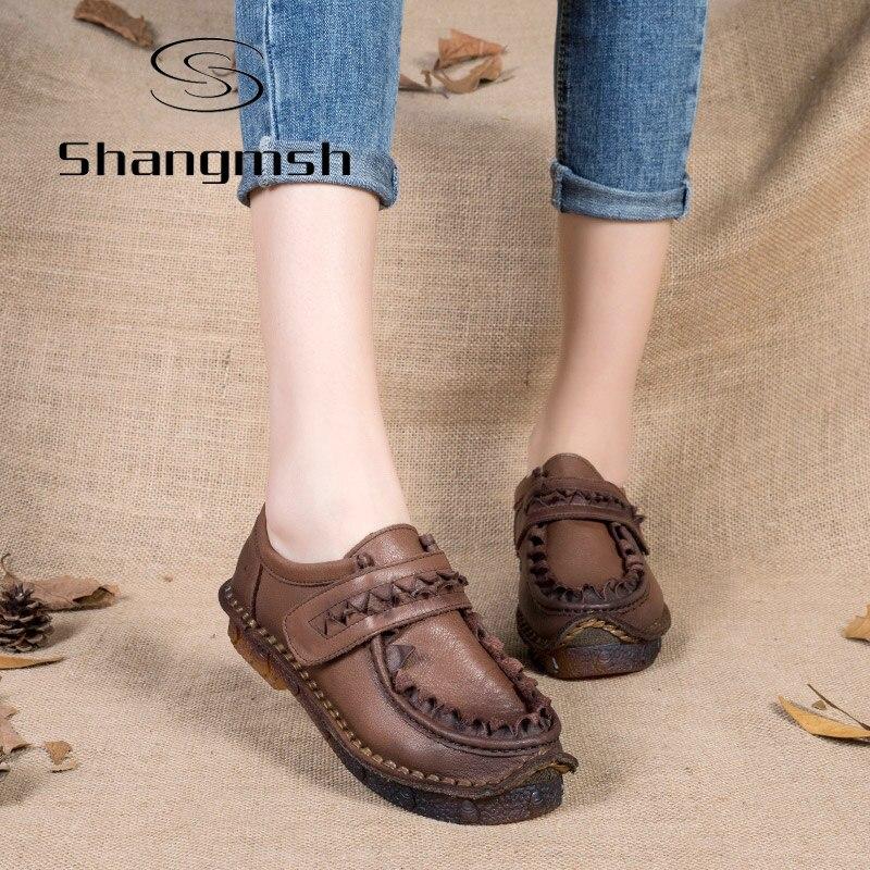 Shangmsh Plus Tamaño Étnico de La Vendimia Señoras del Cuero Genuino Del Zapato