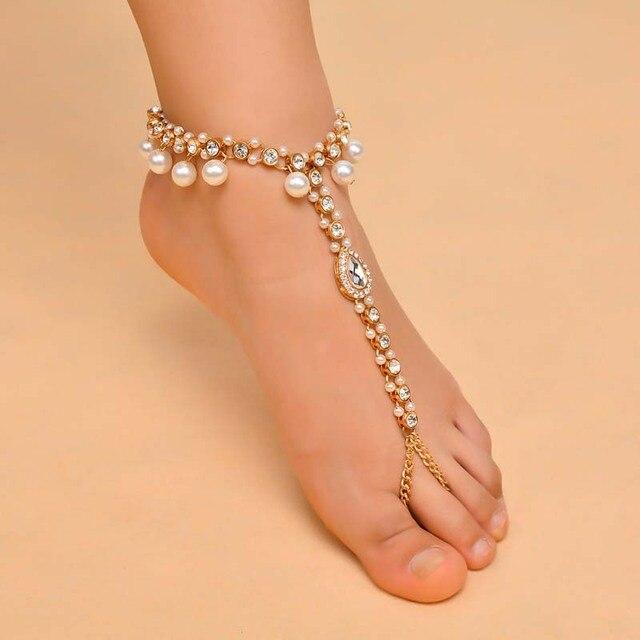 MJARTORIA Bohemia Imitation Pearl Anklet Bracelet Bridal Barefoot