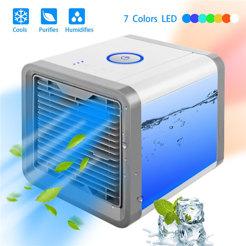 Mini USB Portable Air Conditioner Humidifier Purifier 7 Colors Light Desktop Air Cooling Fan Air Cooler Fan  For Office Room(China)