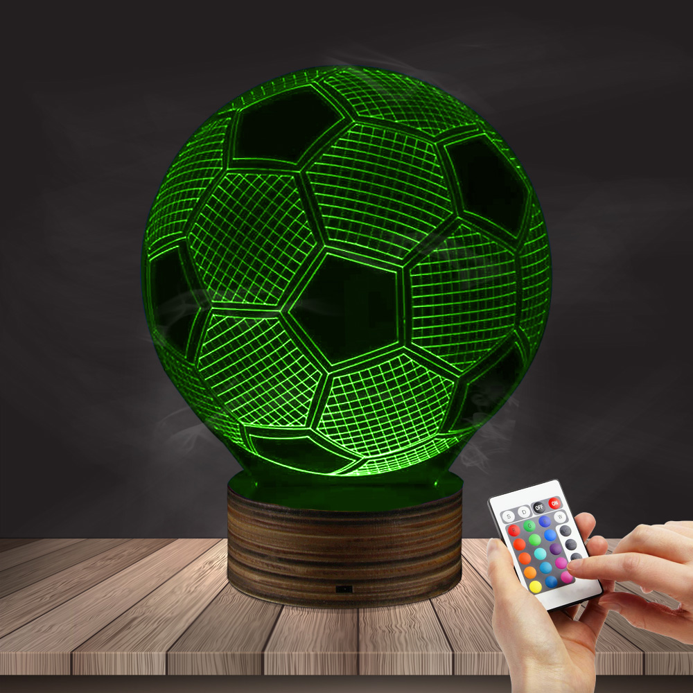 1Piece 3D Football LED Table Lamp Mood Light 16 Colors Changing Sport LED Night Light Soccer 3D Illusion Lamps Football Fan Gift