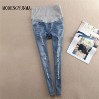 MODENGYUNMA Ripped Hole Stretch Denim Maternity Jeans Pencil Pants Clothes for Pregnant Women Autumn Pregnancy Belly Trousers