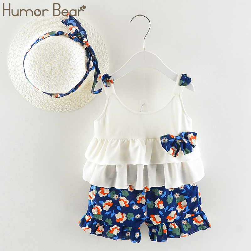 Humor Bear Baby Boy Clothes Body Suit 2018 Summer Baby Girl Clothes Strap Bow Vest + Floral Shorts + Fashion Hat 3Pcs Set