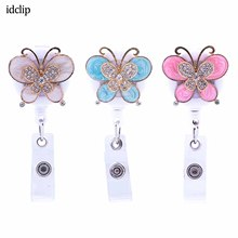 idclip Retractable Badge Holder Reel Crystal Butterfly Nurse ID with Belt Clip Red Lipstick Kiss 3 Pack