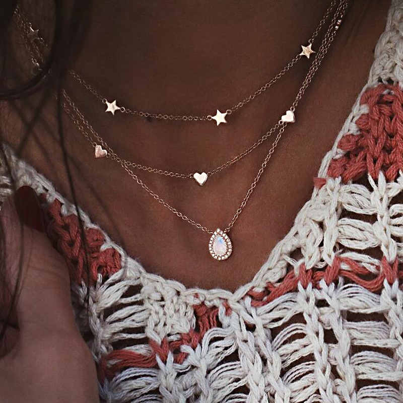 New Fashion Personality Star Heart Crystal Pendant Necklace Gold-color Opal Water Drop Choker Necklaces Jewelry for Women