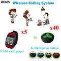 Sistema de chamada de 5 pcs Y-650 relógio de pulso Pager e 30 pcs botão de chamada K-H4BG DHL frete grátis