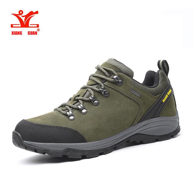 XiangGuan man waterproof hiking shoes Cattlehide Anti-skid Wear resistant breathable fishing outdoor climbing Sneakers