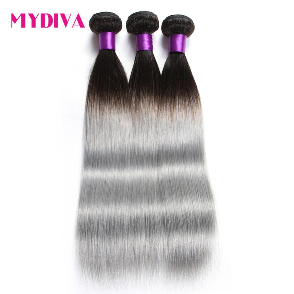 Mydiva 1B/серый бразильский человеческих волос, плетение Связки прямой Ombre серого цвета Волосы remy расширения два тона волос, плетение 3 bundlles