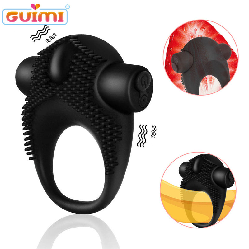 GUIMI Male Vibrator Time Delay Cockpit Ring Penis Erection Clitoris Stimulator Erotic Toys For Couples Ring Sex Toy For Men
