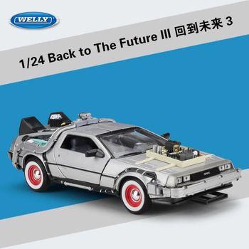 1/24 масштаб металла сплава автомобиля литья под давлением модель часть 1 2 3 времени машина DeLorean DMC-12 модель игрушки Назад в будущее часть 1 Вт а...