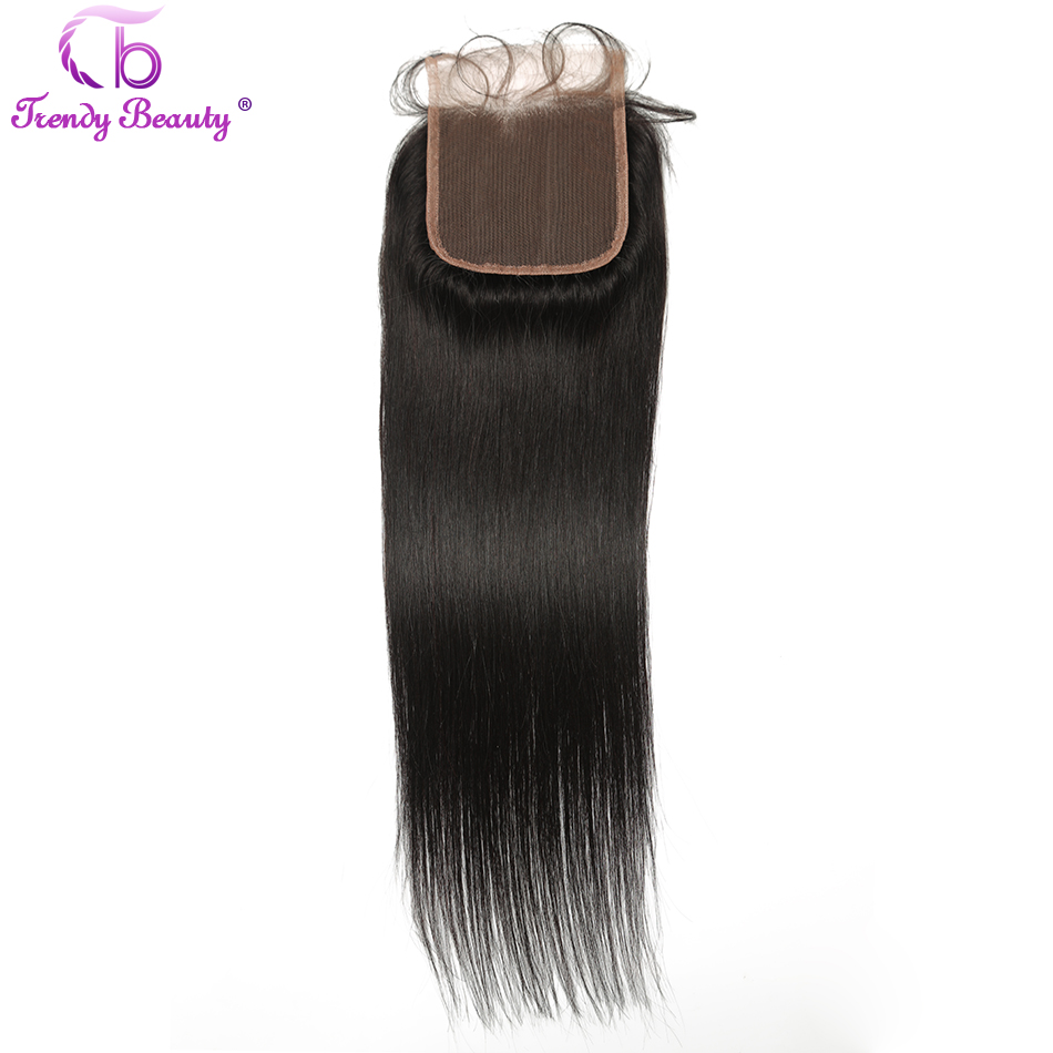Trendy Beauty Hair Indian straight Lace Closure 100% human hair free/middle/three part natural black color non-remy hair
