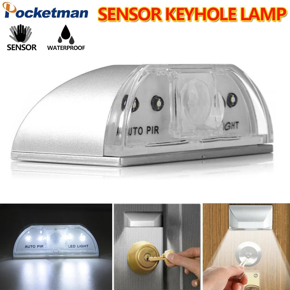 PIR Sensor Keyhole Light Wireless Auto Infrared IR Sensor Motion Detector Night Light Motion Sensor For Keyhole Silver