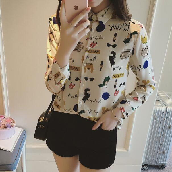New spring summer women font b shirt b font Cartoon printed satin silky fashion font b
